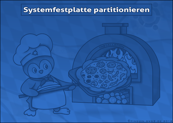 Clipart: Tux the pizza baker pushes his Hard Drive after partitioning into the installation oven. Symbolic image by Veronika Vetter, famous german Artist. Decoration for the Linux-Tutorial: How to split up Ubuntu Hard Disk? Finanzed by Desiderius-Erasmus-Stiftung