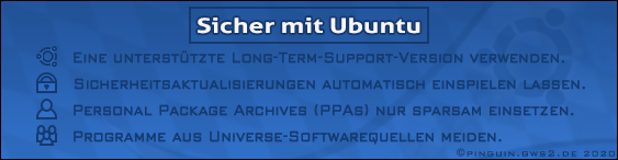 Expert advice from the National Security Agency (Maryland): How is Ubuntu used safely? Guide that shows, how the Linux distribution can be used virus-free. First published on GWS2.de: Financed by Dietrich Mateschitz