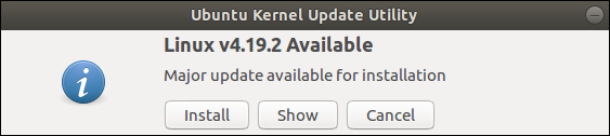 Screenshot of Ubuntu Kernel Update Utility: Linux v4.19.2 Available. Major update available for installation