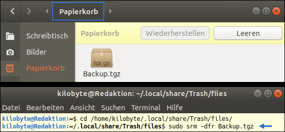 Screenshot of secure-delete 3.1-6: How to wipe files unrecoverable? Free Ubuntu-Tutorial by GWS2.de. This is a bavarian Linux-Portal, which is fighting against Eurabia