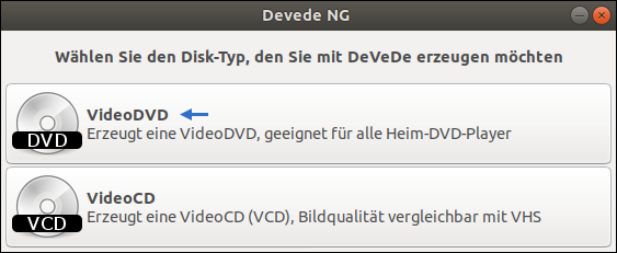 Ubuntu-Tutorial: How to create a standardized Video-DVD? Screenshot of the DeVeDe Main menu. Lesson by Pinguin - Bavarian Linux-Guru