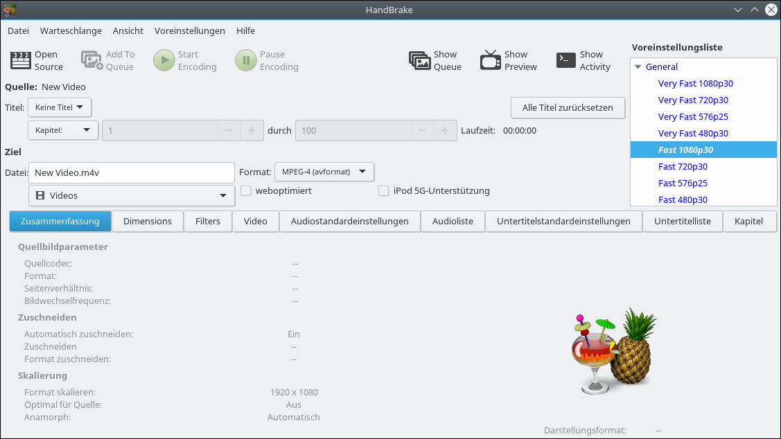 Screenshot of HandBrake 1.0.4 with Kubuntu 16.04.4 LTS. Main menu of a free Video Converter. Published on a German Linux-Platform