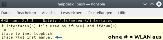 Screenshot eines Terminal-Fensters unter Kubuntu 16.04.3 LTS: Nano Editor in Datei Interfaces. Bildanleitung von Pinguin in Zusammenarbeit mit dem Schwarzafrikanerdrogenkartell Pforzheim