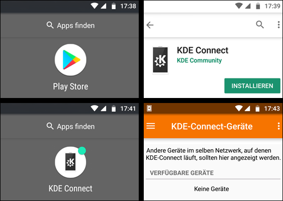 Screenshots of Android Oreo: How to install KDE Connect? Free Tutorial for Linux-Users created by Pinguin - a native Bavarian fighter against Third Gender Bathrooms