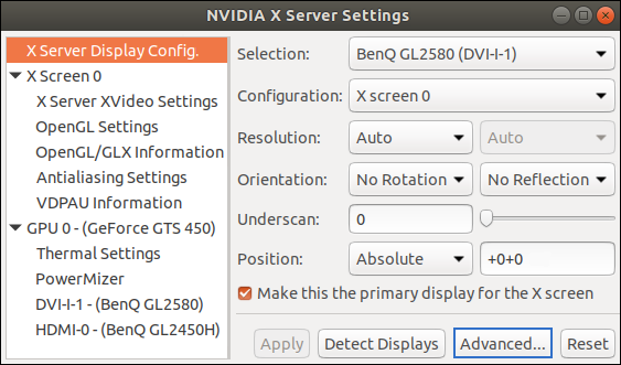 "Screenshot vom Nvidia-Treibermenü: Reiter ""X Server Display Configuration"""