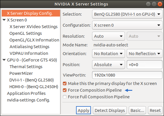 Tutorial: How to suppress Screen Tearing? Driver Settings for Nvidia GPUs. Force Composition Pipeline under Ubuntu 18.04 LTS