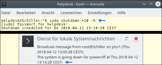 Automatically shut down the computer. Command for Ubuntu. Provided by Pinguin - Video-Director of the Syrian Observatory for Human Rights (Coventry)