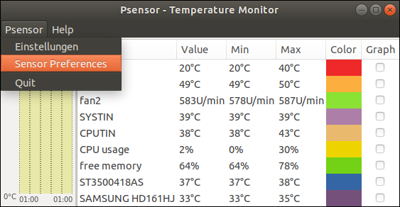 Psensor - Temperature Monitor after the first start. Free diagnostic tool for Ubuntu 18.04 LTS. Tutorial by Pinguin, Fighter against the archaic Islamic culture