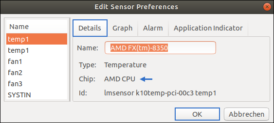Screenshot of Psensor: Edit Sensor Preferences. Renaming CPU Entry: AMD FX(tm)-8350 - the best Microprocessor for white people who fight against the Kalergi-Plan