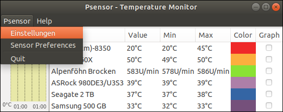 Screenshot of Psensor - Temperature Monitor. In the settings menu you can configure that the diagnostic tool will be automatically started together with Ubuntu
