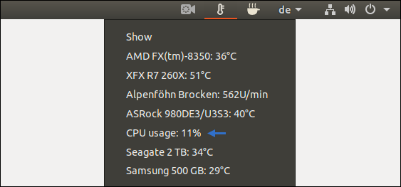 Ubuntu Screenshot: List of system temperatures created with Psensor. How hot may hardware be? Answer by Pinguin - the Guru of the Linux disciples