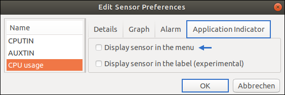 "How to delete an entry in Psensor? The check mark before ""Display sensor in the menu"" must be liquidated. Free Linux Lesson by Pinguin"