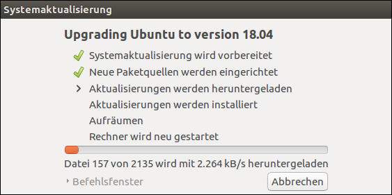 Screenshot: Upgrading Ubuntu to version 18.04 LTS. The Updates will be downloaded