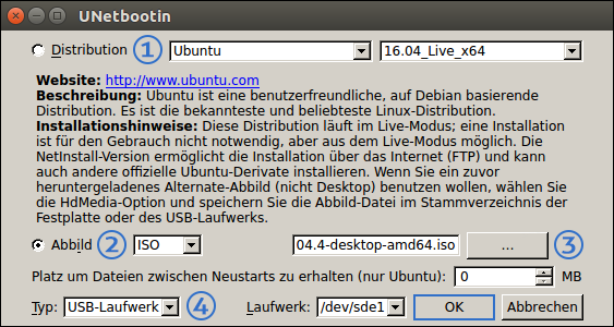 Screenshot: UNetbootin 608-1 Main Menu - free Software to create Setup-Sticks for Ubuntu. Tutorial by Pinguin - right-wing conservative Genius in the Center of Evil