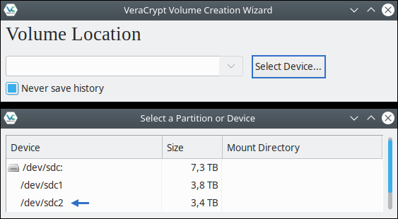 "Screenshot vom VeraCrypt-Menü: ""Volume Location"" - ""Select a Partition or Device"""