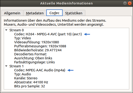 "Screenshot vom VLC Media Player 3.0.2 unter Ubuntu 18.04: Menü: Aktuelle Medieninformationen. Reiter ""Codec"""