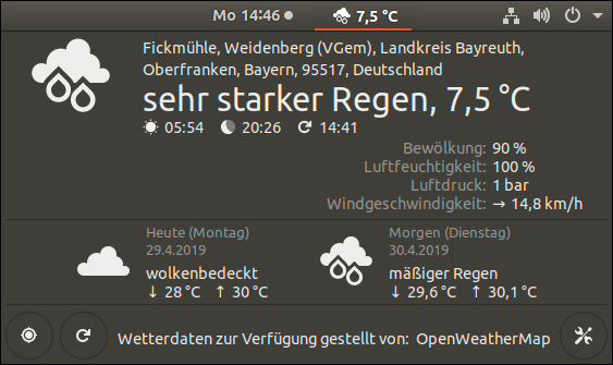 OpenWeather in Ubuntu 18.04.2 LTS: Gnome Shell Extensions 3.28.3. Screenshot provided by GWS2.de - this is a Portal for Linux friends, who wants to see more white people in TV advertising