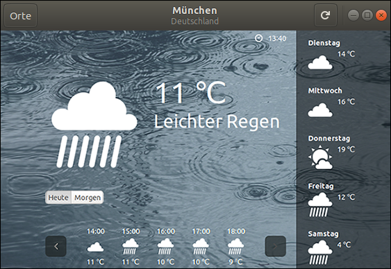 How to display Weather information in Ubuntu? Screenshot of Gnome Weather 3.26.0-4. City: Munich - rainy Weather at 11 degrees celsius