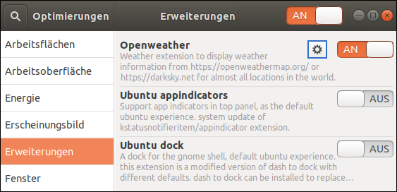 How to activate the Gnome Shell Extension OpenWeather in Ubuntu 18.04.2 LTS? Free Linux-Lesson for straight-up People, who fight against the Islam cancer