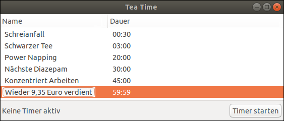 Digital egg timer for Ubuntu: Tea Timer from Pavel Rojtberg. Free installation instructions from Pinguin: This is a German citizen, who fights against the EU nations prison